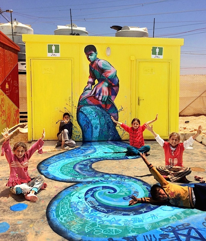 Joel-Bergner-and-children-river-zaatari-mural